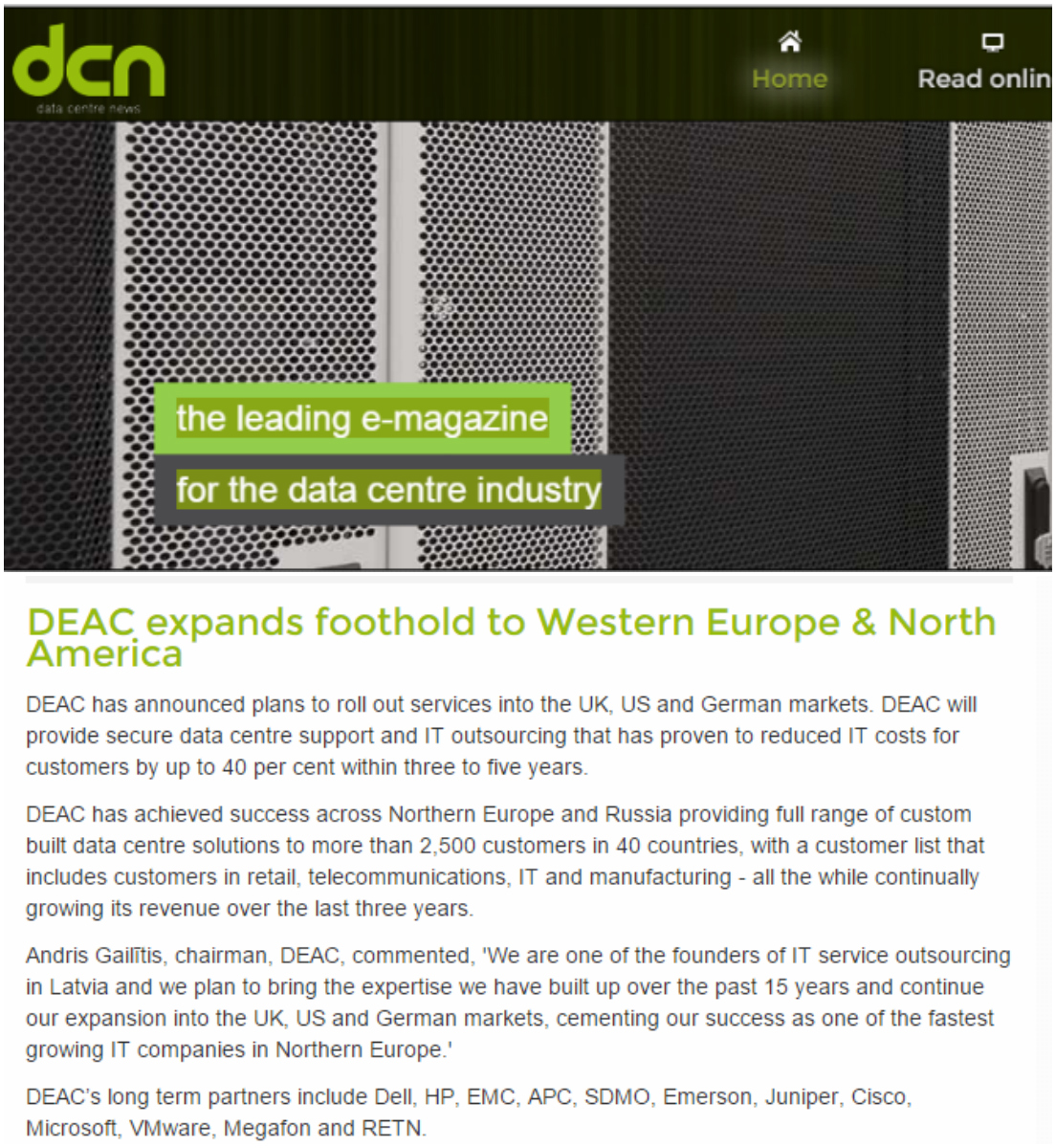 DEAC expands foothold to Western Europe & North America